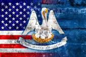 USA and Louisiana State Flag painted on grunge wall — Stock Photo