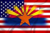 Waving USA and Arkansas State Flag — Foto de Stock