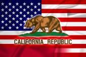 Waving USA and California State Flag — Stock Photo