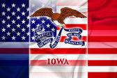 Waving USA and Iowa State Flag — Stock fotografie