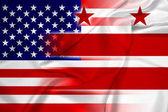 Waving USA and Washington DC Flag — Stock Photo