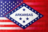 USA and Arkansas State Flag painted on leather texture — Photo
