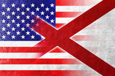 USA and Alabama State Flag painted on leather texture — Stock Photo