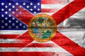 USA and Florida State Flag painted on old wood plank texture — Stock Photo
