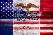 USA and Iowa State Flag painted on old wood plank texture — Stock Photo