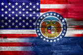 USA and Missouri State Flag painted on old wood plank texture — Stock Photo
