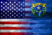 USA and Nevada State Flag painted on old wood plank texture — Stock Photo