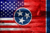 USA and Tennessee State Flag painted on old wood plank texture — Foto de Stock