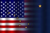 Waving USA and Alaska State Flag — Stock Photo