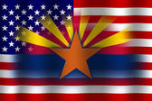 Waving USA and Arizona State Flag — Stock Photo