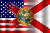 Помахивание США и Флоридой заявляет флаг — Стоковое фото