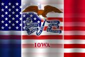 Waving USA and Iowa State Flag — Stock Photo