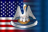 Waving USA and Louisiana State Flag — Stock Photo