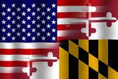 Помахивание США и Мэрилендом заявляет флаг — Стоковое фото