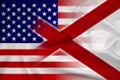 Waving USA and Alabama State Flag — Stockfoto