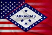 Waving USA and Arkansas State Flag — Stock Photo