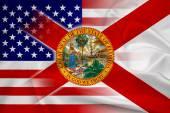 Usa ondeggiante e bandiera di stato della Florida — Foto Stock