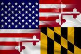 Waving USA and Maryland State Flag — ストック写真
