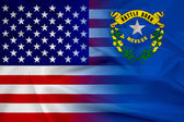 Waving USA and Nevada State Flag — Stock fotografie