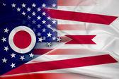 Waving USA and Ohio State Flag — Stock Photo