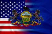 Waving USA and Pennsylvania State Flag — Stock Photo