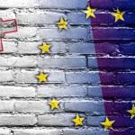 Malta and European Union Flag painted on brick wall — Stock Photo #58212331