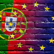 Portugal and European Union Flag painted on brick wall — Stockfoto #58212351