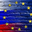 Russia and European Union Flag painted on brick wall — Stock Photo #58212363