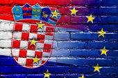 Croatia and European Union Flag painted on brick wall — Stock Photo