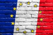 France and European Union Flag painted on brick wall — Stock Photo