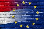 Netherlands and European Union Flag painted on brick wall — Stock fotografie
