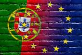 Portugal and European Union Flag painted on brick wall — Stock Photo