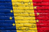 Romania and European Union Flag painted on brick wall — Stock Photo