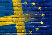 Sweden and European Union Flag painted on brick wall — Stock Photo