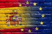 Spain and European Union Flag painted on brick wall — Stock Photo