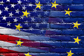 United States and European Union Flag painted on brick wall — Stock Photo