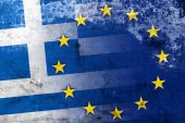 Greece and European Union Flag with a vintage and old look — Stock fotografie