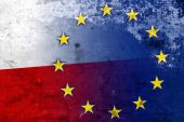 Poland and European Union Flag with a vintage and old look — Stock Photo