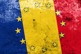 Romania and European Union Flag with a vintage and old look — Stock Photo