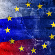Russia and European Union Flag painted on grunge wall — Stock Photo #58692211