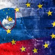 Slovenia and European Union Flag painted on grunge wall — Stock Photo #58692217