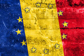 Romania and European Union Flag painted on grunge wall — Stock Photo