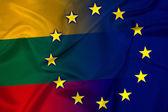 Waving Lithuania and European Union Flag — Stock Photo