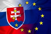 Waving Slovakia and European Union Flag — Stock Photo