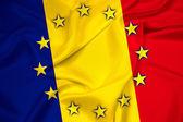 Waving Romania and European Union Flag — Stock Photo