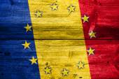 Romania and European Union Flag painted on old wood plank texture — Stock Photo