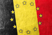Belgium and European Union Flag painted on leather texture — Stock Photo