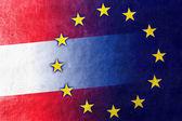 Austria and European Union Flag painted on leather texture — Stock Photo