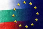 Bulgaria and European Union Flag painted on leather texture — Stock Photo
