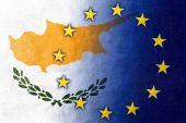 Cyprus and European Union Flag painted on leather texture — Stock Photo